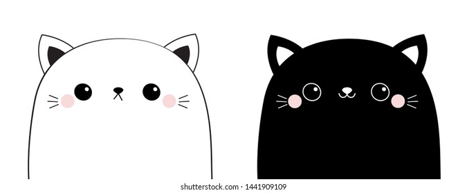 Black white cat head face line contour silhouette icon set. Pink blush cheeks. Funny kawaii smiling animal. Cute cartoon funny character. Pet collection. Flat design Baby background.