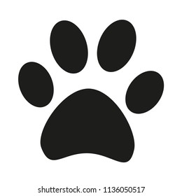 Black and white cat paw footprint silhouette. Hunter tips on wilderness exploring. Pet themed illustration for icon, sticker, patch, label, sign, badge, certificate or gift card decoration