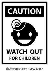 Black and White Caution Plate For Safety Present By Caution and Watch Out For Children Text With Children Sign Isolated on White Background