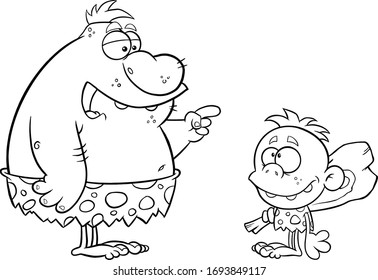 Black And White Caveman Father Talking To Caveman Boy. Raster Illustration Isolated On White Background