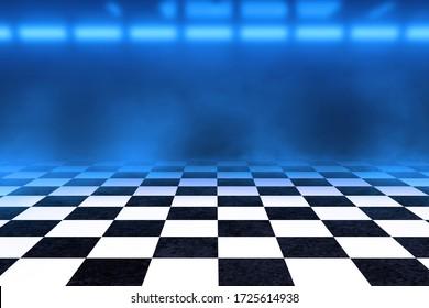 Black And White Checker floor Grunge Room. Checker floor empty space. 3D render.
