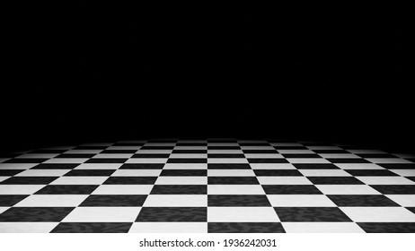 Black and white checkered floor background 3DCG illustration