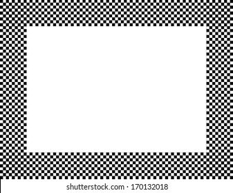 Black and White Checkered Frame Background with center isolated for copy-space