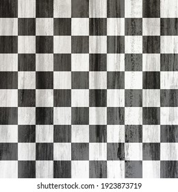 Black and White Checkered Pattern with Wood Texture