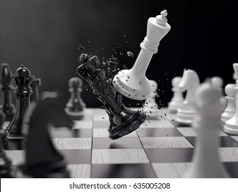 black and white chess battle,Chess victory,chess concept,3d illustration