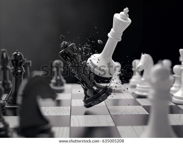 Schachschach-Schlacht, Schachsieg, Schachkonzept, 3D-Illustration