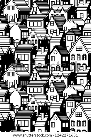 Black and white city seamless pattern  Illustration. It can be used as wallpaper, wrapping paper, textile print