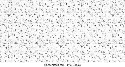 Black white convex flowers and circles on grey gradient background