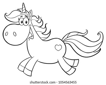 Black And White Cute Magic Unicorn Cartoon Mascot Character Running. Raster Collection Isolated On White Background