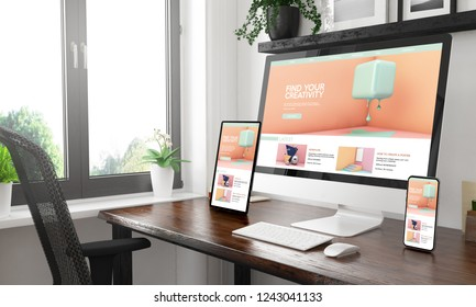 Black and white desktop with three devices showing creativity tutorials website 3d rendering