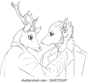 Black and white digital illustration of an anthropomorphic deer looking in the eyes of an anthropomorphic wolf