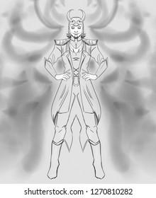 Black and white digital illustration of Loki, a god from Norse mythology