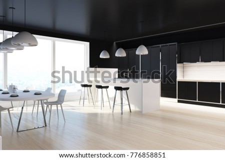 Black And White Dining Room Corner With A Panoramic Window Bar Stand Stools