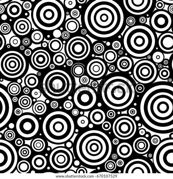 Black White Doodle Circles Seamless Pattern Stock Illustration