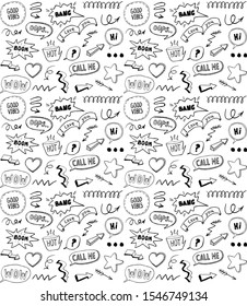 Black and white doodle style seamless pattern with comic style elements, hand drawn illustration, rasterized version