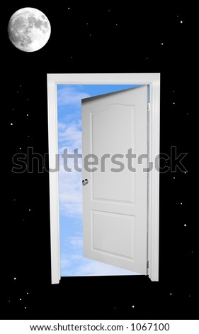 Superbe A Black And White Door Floating In Space Opens To Blue Skies Beyond.