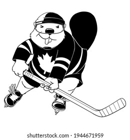 An black and white drawing of an anthropomorphic beaver playing hockey.  He has a maple leaf on his jersey.