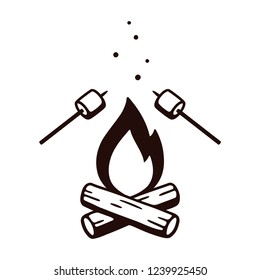 Black and white drawing of bonfire and marshmallows on stick. Simple retro style camping illustration, isolated clip art.