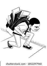A black and white drawing of a boy shouldering an overloaded, bulky backpack.