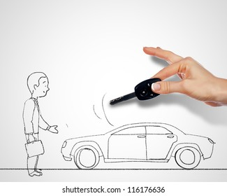 Black and white drawing with car and person standing near it