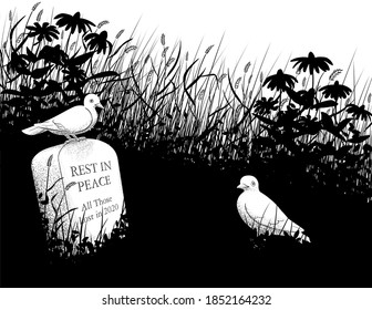 """A black and white drawing of an overgrown field containing a grave marker reading, """"Rest in Peace all those lost in 2020"""".  A dove perches on top of the stone and another dove stands in front of it."""