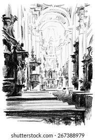Black and white drawing Prague. Interior monastery.