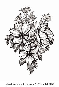Black and white drawn tattoo sketch with flowers, beautiful bouquet, floral