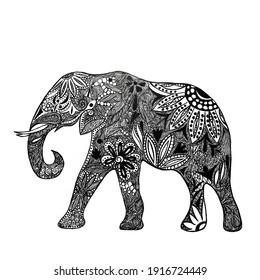 Black and White Elephant Illustration Design