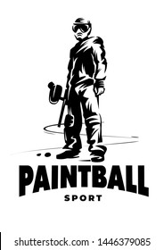 Black and white emblem. Paintball player with gun. Standing position