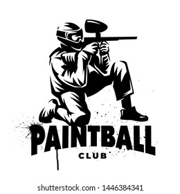 Black and white emblem. Paintball player with gun. Sitting posture