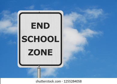 Black and white End School Zone Sign,White highway sign with text End School Zone with sky background 3D Illustration