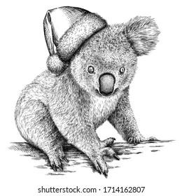 black and white engrave isolated Koala illustration