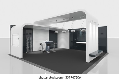 black and white exhibition booth 3d Rendering