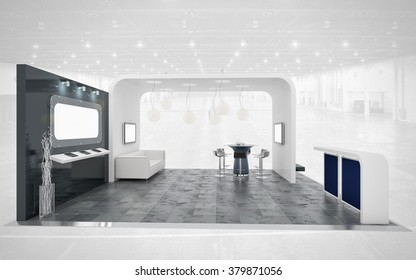 black and white exhibition stand 3d rendering