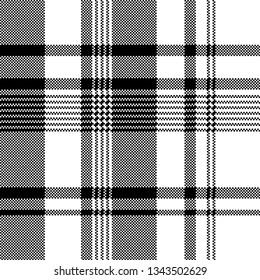 Black white fabric texture pixel asymmetrical seamless pattern. Vintage background.