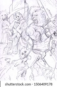 Black and white fantasy illustration: a battle between an armored anthropomorphic lion and a pack of wolves controlled by an evil anthropomorphic wolf sitting on a throne