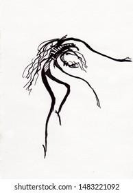 black and white fantasy  picture, dancing ballerina