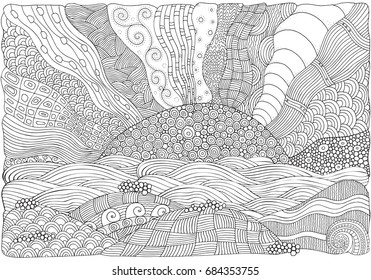 Black and white fantasy picture with sun and sea shore. Beach landscape. Pattern for adult Coloring book page. Hand-drawn, ethnic, doodle, tribal, zentangle.