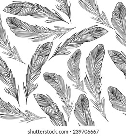Black and white feathers pattern
