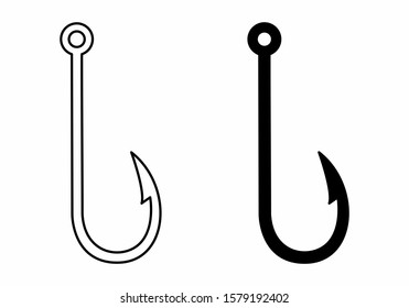 The black and white Fish hook icons