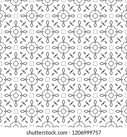 Black and white floral background with abstract flowers. Seamless pattern