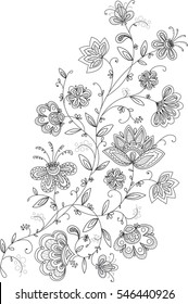 black and white floral embroidery pattern