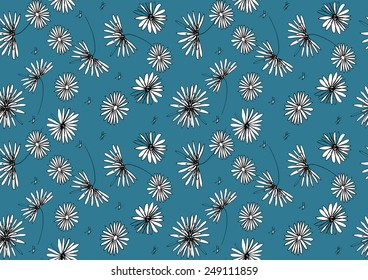 Black and white floral pattern on a blue background