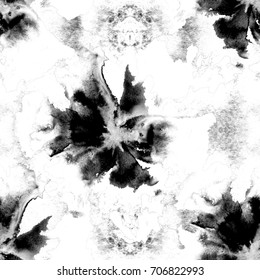 Black and White Floral Pattern. Seamless Watercolor Texture for Calico, Chintz or Dress with Large Blossoms of Poppy or Other Flower with Big Petals. Fantastic Monochrome Texture.
