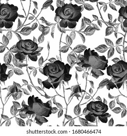 Black and white floral seamless pattern made of gorgeous large roses. Acrilic painting with flower buds and leaves. Botanical ornament for fabric and textile.