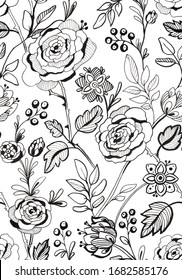 Black and white floral seamless pattern with roses, stylized flowers, leaves and berries, for wallpaper, backgrounds, bedclothes, fabric, wrapping paper and scrapbook.
