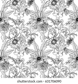 Black white flower pattern coloring endless stock vector royalty black and white flower pattern for coloring endless floral drawing doodle art therapy coloring page mightylinksfo