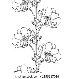 BLACK AND WHITE FLOWER PATTERN ON A WHITE BACKGROUND