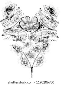 Black and white flowers with around zipper. JPEG format.