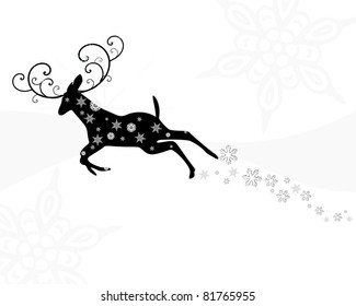black and white of flying reindeer